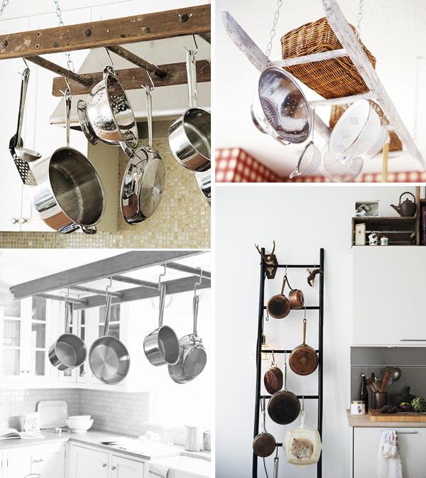 escada para pendurar utensílios de cozinha
