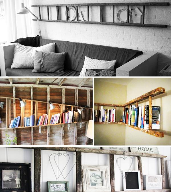 escada como estante na horizontal