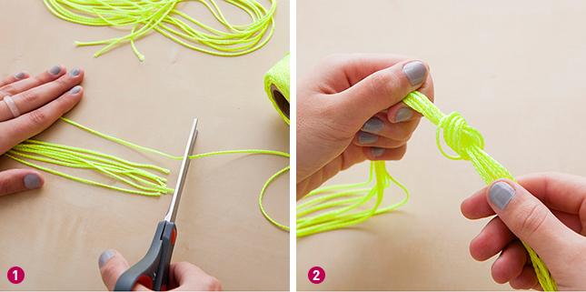 Corte 8 pedaços iguais do barbante neon Eles podem variar de 90cm