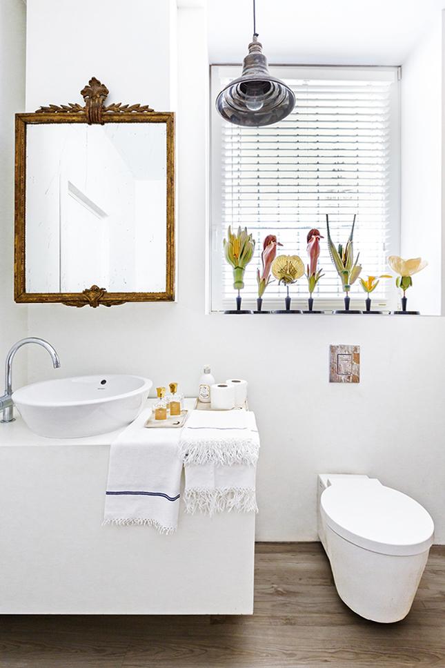 No banheiro clean, o destaque fica para o espelho do sécluo XVIII e nas flores, usadas como modelo em aulas de botânica.