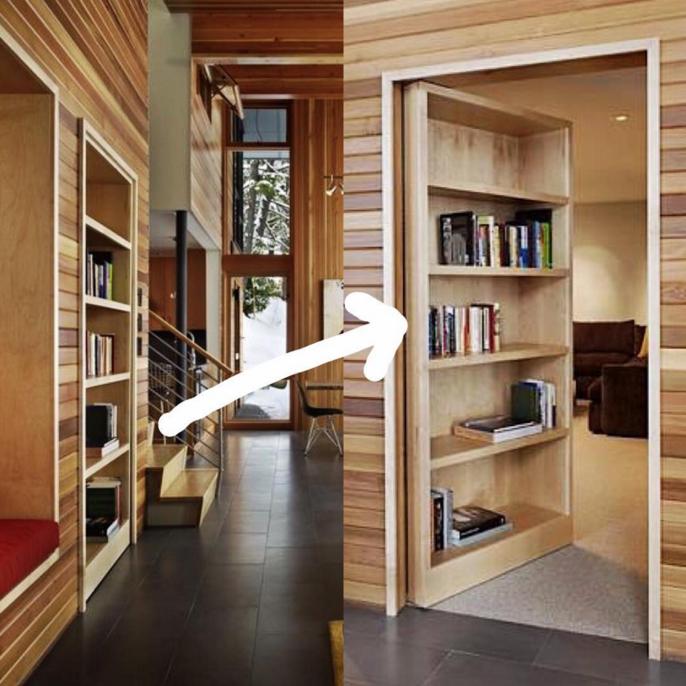 E as portas secretas não precisam existir só na ficção ! Dá para adaptar a ideia em uma decoração atual e o diferencial fica no elemento surpresa. Quem curte ? By DeForest Architects