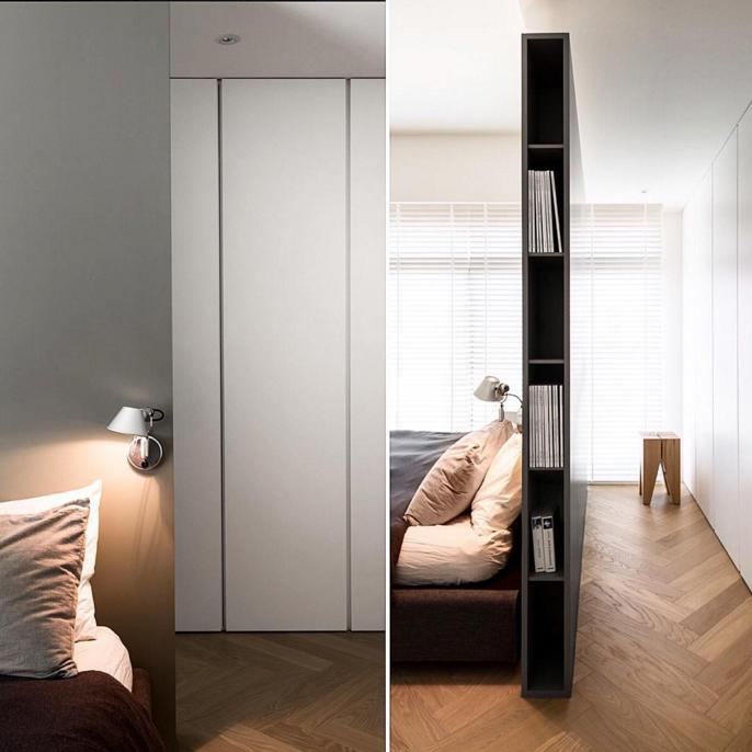 E a gente curte muito este tipo de layout minimalista: cama soltona no meio do quarto, ao invés de criado nichos na lateral da cabeceira que vai até o teto e isola atrás dela o closet