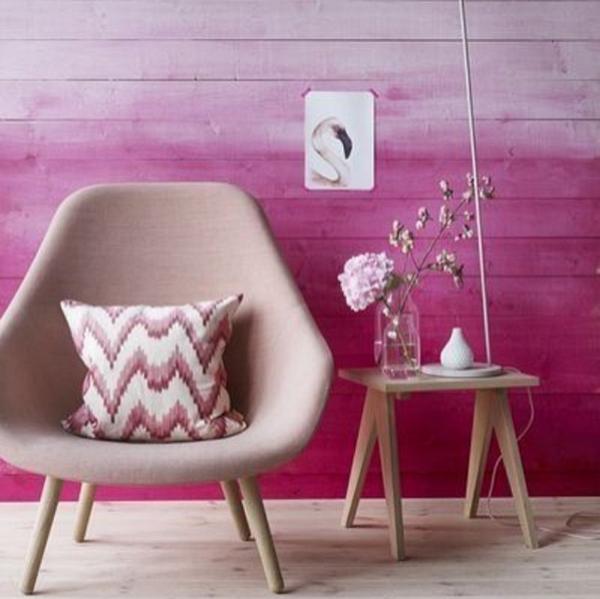 5. Pintura Ombré: degrade de rosa sobre madeira