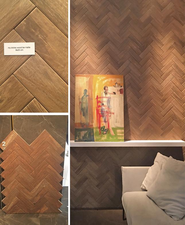 A Cerâmicas Portinari trouxe o lançamento Brick Wood com efeito Matte - as peças em formato de tijolinho (ou taco) são perfeitas para compor o efeito escama de peixe tanto em piso quanto paredes. Lindo!